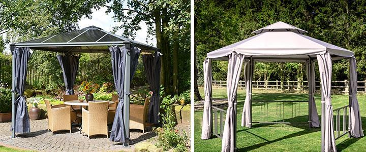 Cenadores con cortinas, pérgolas con cortinas laterales, carpas