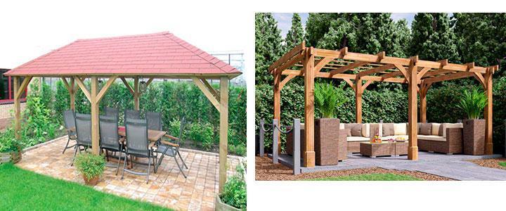 Cenadores de madera, pérgolas de madera en kit con techo o toldo